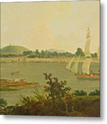 Pinnace Sailing Down The Ganges Past Monghyr Fort Metal Print