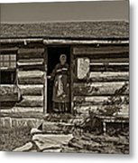 Pioneer Greeting Monochrome Metal Print