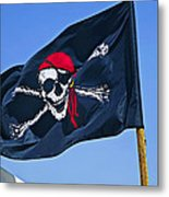 Pirate Flag Skull With Red Scarf Metal Print