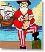 Pirate Santa Metal Print