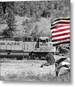 Pirates And Trains Black And White Metal Print