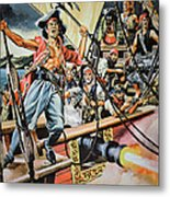 Pirates Preparing To Board A Victim Vessel  Metal Print by American School