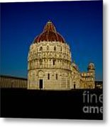 Pisa Tower And Baptistery Cathedral Metal Print