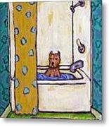 Pit Bull Terrier Taking A Bath Metal Print