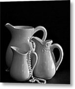 Pitchers By The Window In Black And White Metal Print