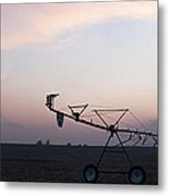 Pivot Irrigation And Sunset Metal Print