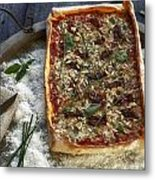 Pizza With Herbs Metal Print