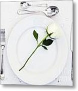 Place Setting With White Rose Metal Print