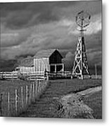 Plains Frontier Farm And Windmill At 1880's Town In South Dakota Metal Print