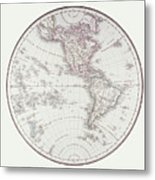 Planispheric Map Of The Western Hemisphere Metal Print