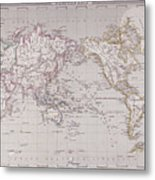 Planispheric Map Of The World Metal Print