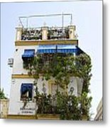 Plant Covered House In Triana Seville Metal Print