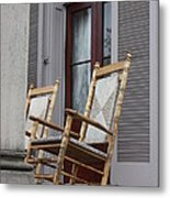 Plantation Rocking Chairs Metal Print