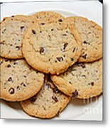 Plate Of Chocolate Chip Cookies Metal Print