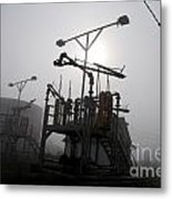 Platforms And Tanks At Petrocor In The Fog Metal Print