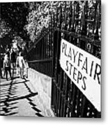 Playfair Steps Down Into Princes Street Gardens Edinburgh Scotland Uk United Kingdom Metal Print by Joe Fox