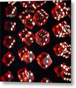 Playing Dice Being Rolled Metal Print