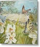 Playing In The Garden Metal Print by Dorothy Herron