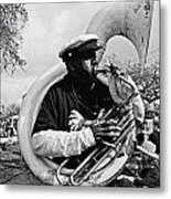 Playing To The Crowd - Bw Metal Print