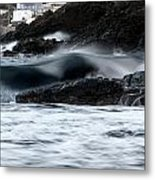 playing with waves 2 - A beautiful image of a wave rolling in noth coast of Menorca Cala Mesquida Metal Print