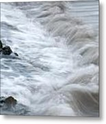 playing with waves 3 - Mediterranean sea foam playing with black stones in cala mesquida - menorca Metal Print