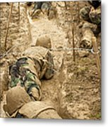 Plebes Navigate The Low Crawl Obstacle Metal Print