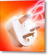 Plug With Electric Current Metal Print
