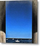 Plymouyh Harbor And Columns Metal Print