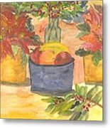 Poinsettias Holly And Table Fruit Metal Print
