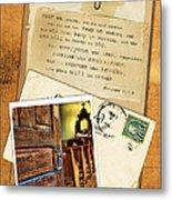 Polaroid Of Open Door To Church With A Bible Verse Metal Print