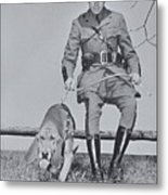 Policeman And His Dog Walking, 1950s Metal Print by Archive Holdings Inc.