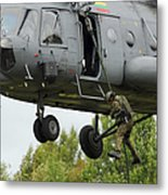 Polish Special Forces Member Fast-ropes Metal Print