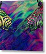 Polychromatic Zebras Metal Print by Anthony Caruso