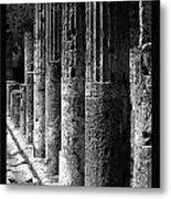 Pompeii Columns Black And White Metal Print