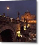 Ponte And Castel Sant' Angelo At Night Metal Print