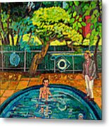 Pool At Upsal Gardens Metal Print