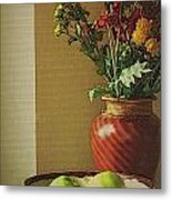 Poppies and apples still life Metal Print