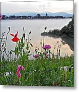 Poppies By The River Metal Print