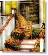 Porch - Westifeld Nj - In The Light Of Autumn Metal Print by Mike Savad