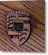 Porsche On Wood Metal Print