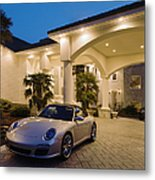 Porsche Parked At Mansion Metal Print by Roberto Westbrook