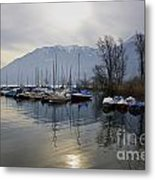 Port With Snow-capped Mountain Metal Print