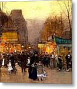 Porte St Martin At Christmas Time In Paris Metal Print