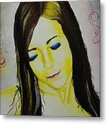 Portrait In Yellow Metal Print