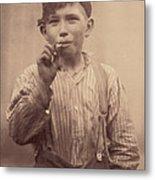 Portrait Of A Boy Smoking, Original Metal Print