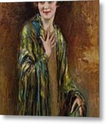 Portrait Of A Girl With A Green Shawl Metal Print