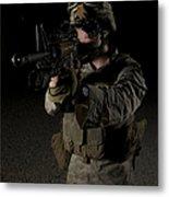 Portrait Of A U.s. Marine Wearing Night Metal Print