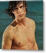 Portrait Of A Young Man On A Sea Shore Metal Print