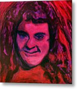 Portrait Of Jenny Friedman Who Never Gave Up. Figure Portrait In Pink Purple And Blue Downs Syndrome Metal Print by MendyZ M Zimmerman