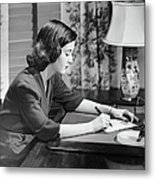 Portrait Of Woman Writing Letter At Desk Metal Print by George Marks